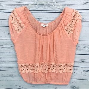 Mine Peach Crop Top with Lace